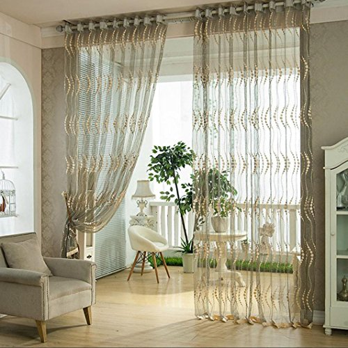DZT1968® 1PC Gray Lace Tulle Sheer Window Treatments Door Screen Curtain (80 inch x 40 inch) (French Door Lace Panel compare prices)
