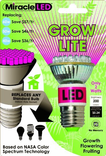 Miracle Led 605020 Grow Bulb, Red And Blue Color: Red/Blue Style: 2-Watt Outdoor/Garden/Yard Maintenance (Patio & Lawn Upkeep)