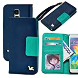 Case for Galaxy S5,By HiLDA,Wallet Case,PU Leather Case,Cut,Credit Card Holder,Flip Cover Skin,(Blue)
