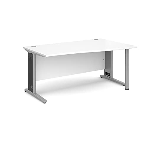 DAMS Largo 1600 Right Handed Wave Desk, Wood, White