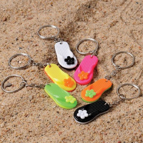 Dozen Assorted Color Flip Flop Sandal Key Chains Key Clips