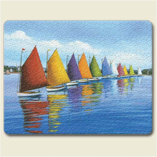 Artworks Home Accents Rainbow Cats Sailboats Tempered Glass Small Cutting Board