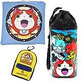 選べる 2 色 妖怪ウォッチ 3 点 セット クッション 傘 (ペットボトル) ケース カラビナ 付き リュック 型 ポーチ (ブルー)