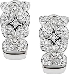 18k White Gold 1ct TDW Diamond Flower Earrings