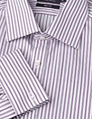 "2"" Longer Slim Fit Ultimate Non-Iron Pure Cotton Sateen Striped Shirt"