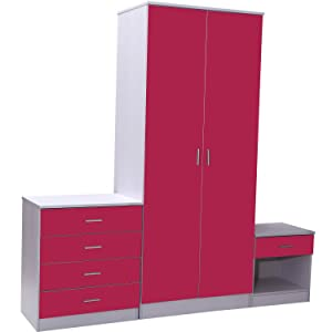 Homcom High Gloss 3 Piece Trio Bedroom Furniture Set Wardrobe + Chest + Bedside Pink & White       review and more information