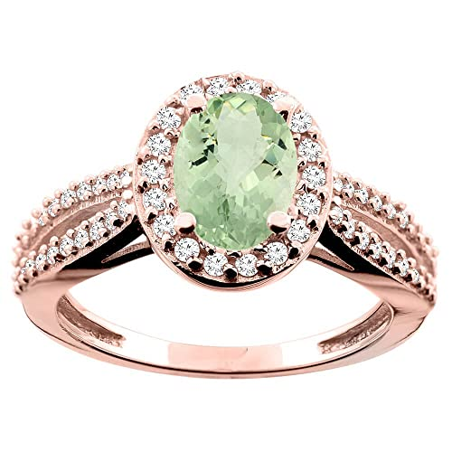 14ct Rose Gold Natural Green Amethyst Ring Oval 8x6mm Diamond Accent 7/16 inch wide, size T