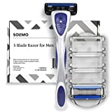 Solimo 5-Blade Razor for Men with Precision Beard Trimmer, Handle & 2 Cartridges (Cartridges fit Solimo Razor Handles only)