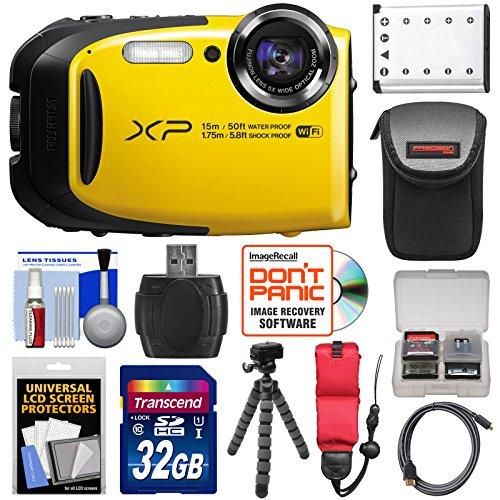 Fujifilm FinePix XP80 Shock & Waterproof Wi-Fi Digital Camera (Yellow) with 32GB Card + Battery + Case + Tripod + Strap + HDMI Cable + Kit