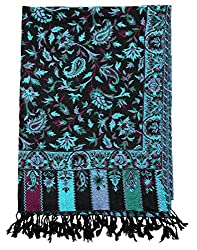 Antique Viscose Stole Black 80x40 Paisley Self Weaved Shawl By Rajrang