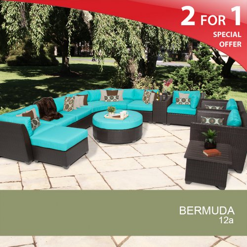 Bermuda 12 Piece Outdoor Wicker Patio Furniture Set - Aruba 12A photo