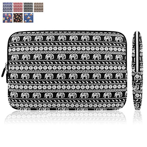 """Kamor® 15 15.6 15.6"""" inch Laptop Sleeve Canvas Fabric Bohemian Style Skin Case Cover Shell -Superior Protection Laptop Sleeve Bag / Notebook Computer Case / Briefcase Carrying Bag(Elepant Black&White)"""