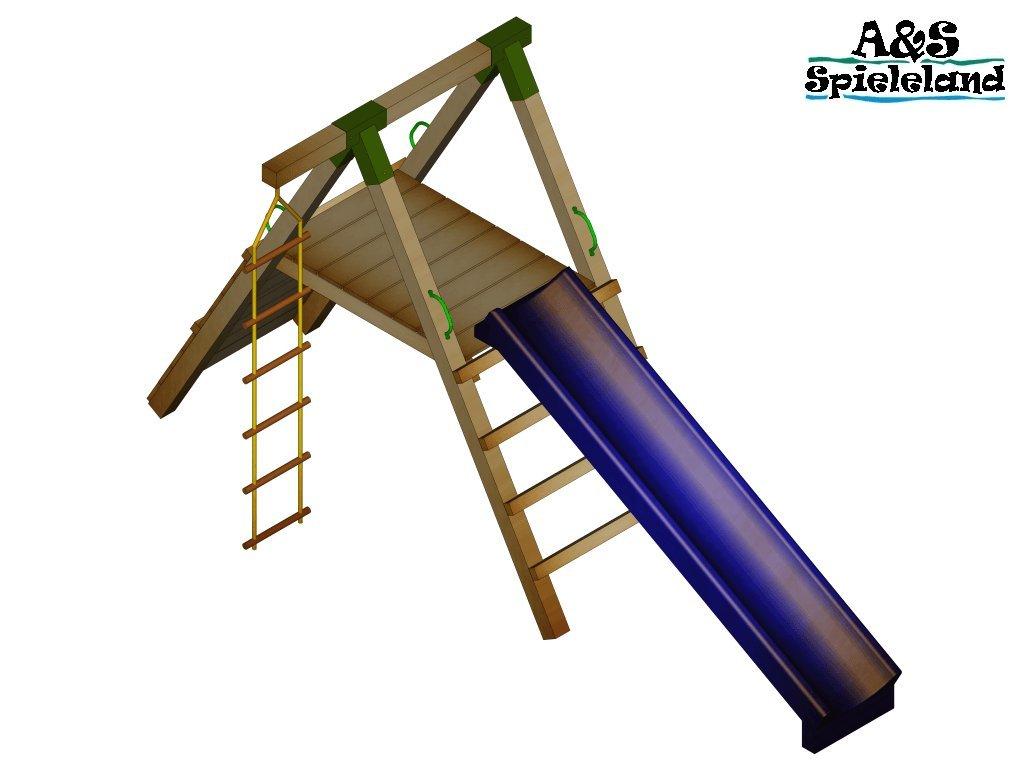 Spielturm JUNIOR 2.0 120cm mit 2,4m Wellenrutsche günstig online kaufen