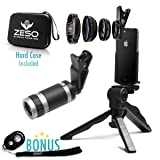Camera Lens Kit by Coral Entertainments | Professional Telephoto, Macro & Wide Angle Lenses | Tripod and Selfie Remote Control | for iPhone, Samsung, iPads, Tablets | Hard Case & Universal Clip