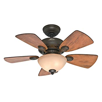 Hunter Fan Company 52090 Watson 34-Inch New Bronze Ceiling Fan with Five Cabin Home/Walnut Blades and a Light Kit