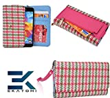 Retro Metro MAGENTA PINK & GREEN |Ekatomi™ Compatible W/ Motorola Photon Q 4G LTE XT897 Wristlet Phone Case Holder