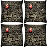 Snoogg Basketball On Street Pack Of 4 Digitally Printed Cushion Cover Pillows 14 X 14 Inch