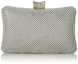 MG Collection Raquel Clutch, Silver, One Size