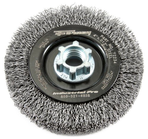 Forney 72234 Wire Wheel Brush, Industrial Pro Crimped with Dual Arbor 5/8-Inch-11 and M14, 4-Inch-by-2.0-Inch