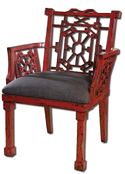 Luxe Chinoiserie Red Armchair