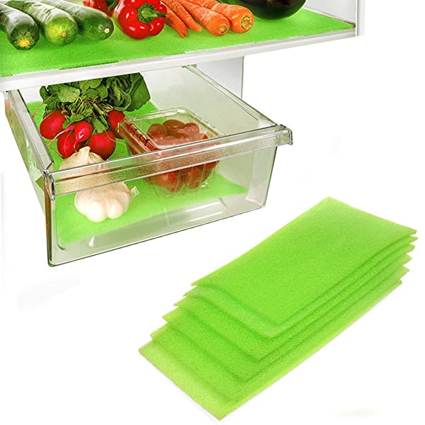 Dualplex Fruit & Veggie Life Extender Liner for Fridge Refrigerator Drawers (6 Pack) - Extends The Life of Your Produce & Prevents Spoilage, 6 X 16.5 Inches (Color: Green, Tamaño: 6 x 16.5 inches)
