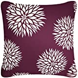 Wabisabi Green Dahlia Decorative Modern Organic Cotton Square Throw Pillow Cover, 18 by 18-Inch, Plum Purple