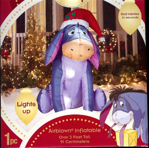 Disney Eeyore in Santa Hat Christmas Airblown Inflatable Eyeore by Gemmy Winnie the Pooh Friend