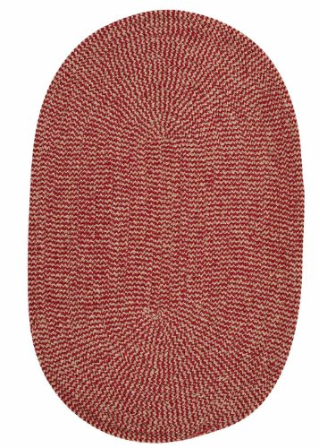 Chenille Braided Rug 2ft. x 3ft. Oval Sangria Red Check Soft Bedroom Rug