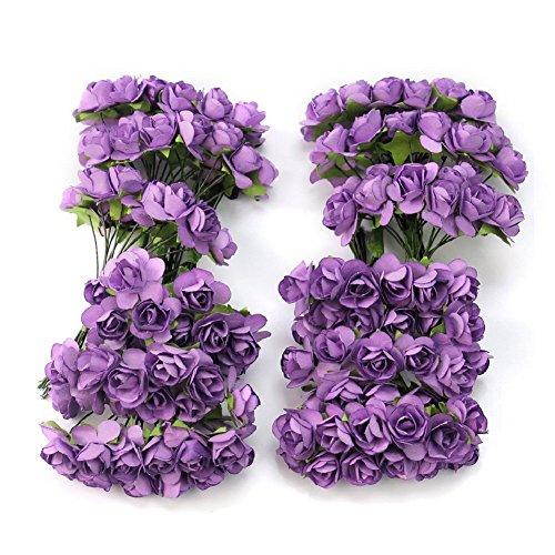 144pc Chic Mini Artificial Paper Rose Flower Wedding Card Decor Craft Diy (purple) By Homgaty