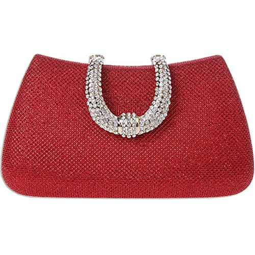 KAXIDY Donna Pochette Borsa Sacchetto Borsetta Da Sera Borsa Diamante (Rosso)