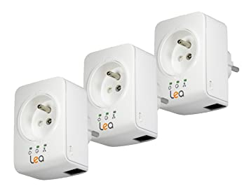 Lea Socket Mini 500 Pack de 3 Adaptateurs CPL 500 Mbps Ethernet Blanc