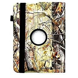 APPLE IPAD MINI AUTUMN GREEN BROWN REAL CAMO CAMOUFLAGE MOSSY TREE PU LEATHER WITH ROTATING MAGNETIC ROTATING 360 DEGREES SMART COVER CASE WITH A CLOSING BAND by DealsEggs Brand Products®