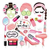 Kristin Paradise 25Pcs Spa Day Photo Booth Props with Stick, Makeup Selfie Props, Make Up First Birthday Party Supplies, Nail Girl Theme Backdrop Decorations (Color: Spa Photo Booth Props)