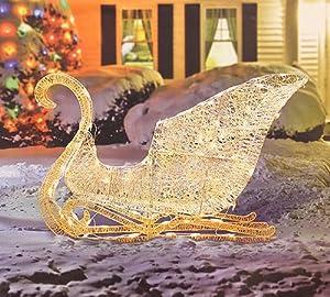 """41"""" Elegant White Glittering Lighted Christmas Sleigh Yard Art Decoration"""