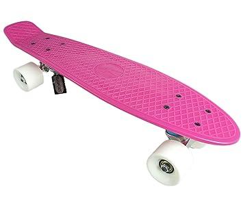 SFT Skateboard complet en plastique Rose/blanc 56 cm