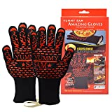 Heat Resistant BBQ Gloves Yummy Sam® Oven Mitts Grilling Cooking Gloves 932°F Premium Kitchen Safety Flame Resistant Ideal For Cooking Baking Grilling Fireplace