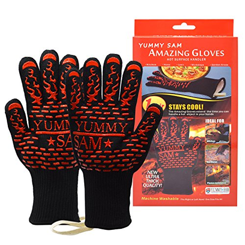 Heat Resistant BBQ Gloves Yummy Sam Five Fingered Insulated Oven Mitts Grilling Cooking Gloves 932°F Premium Kitchen Safety Flame Resistant Ideal For Cooking Baking Grilling Fireplace Barbecue Party (Oven Glove Small compare prices)