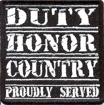 DUTY HONOR COUNTRY WHITE MILITARY VET Embroidered Motorcycle Biker Vest Patch!!!