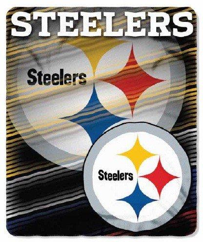 "Nfl Pittsburgh Steelers Licensed Logo/Lines 50""X60"" Fleece Throw front-484435"