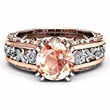 FimKaul Fashion Rings, Women Color Separation Rose Gold Wedding Engagement Ring 5/6/7/8/9/10/11 (Coffee, 11)