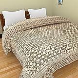 Rajkruti pure cotton jaipuri razai / rajai double bed cotton rajasthani sanganeri floral print quilt blanket with 100% cotton