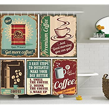 Ambesonne 1950s Decor Collection, Coffee Posters and Metal Signs Artistic Design Bean Cup Tin Espresso Mug Cappuccino Logo, Polyester Fabric Bathroom Shower Curtain Set with Hooks, Ivory Red Blue