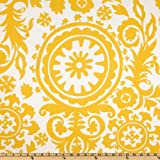 Premier Prints Suzani Twill Corn Yellow Fabric By The Yard