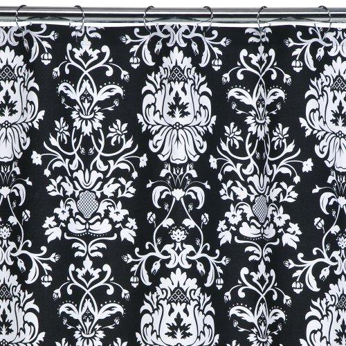 Curtains Ideas damask curtain : Xhilaration 174 Damask Shower Curtain Black White 72x72 quot image 1