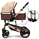 Belecoo™ Luxury Newborn Baby Foldable Anti-shock High View Carriage Infant Stroller Pushchair Pram(Golden)