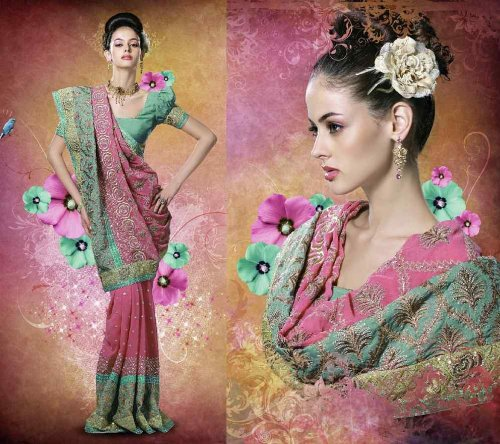 Bridals Mind Booster Embroidered Party wear contemporary georgette banarsi sari fabric / saree / wrap