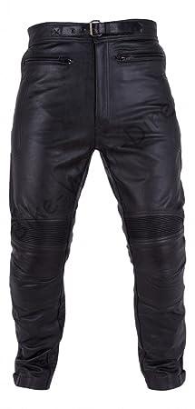 Hommes Qualité Pantalon noir de moto en cuir de passage
