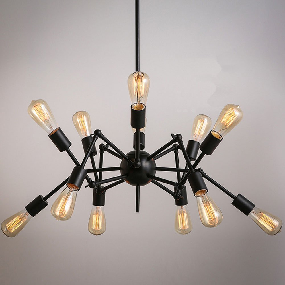Aero Snail Creative Metal Pendant Light Vintage Black Barn Chandelier with 12 Lights Painted Finish 3