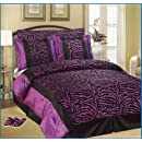 Full Queen Faux Silk And Flocking Zebra Printing Black Purple Comforter Set Plus A Pair Of Zebra Purple Slippers Bedding In A Bag