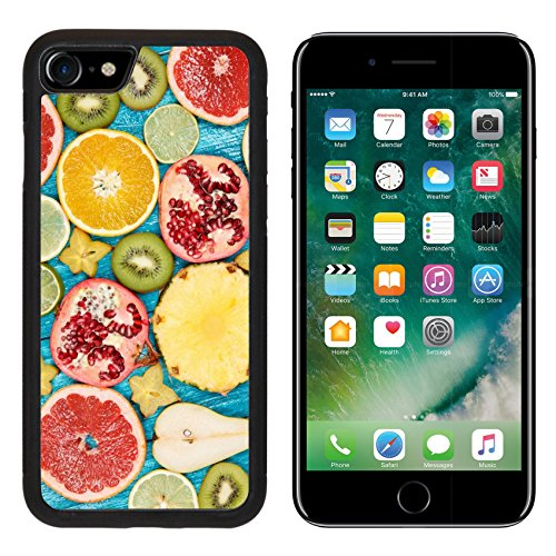 MSD Premium Apple iPhone 7 iPhone7 Aluminum Backplate Bumper Snap Case Set of colorful fruit slices IMAGE 34227633